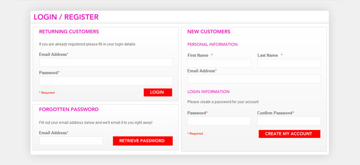 Single page for customers registration and login in Magento
