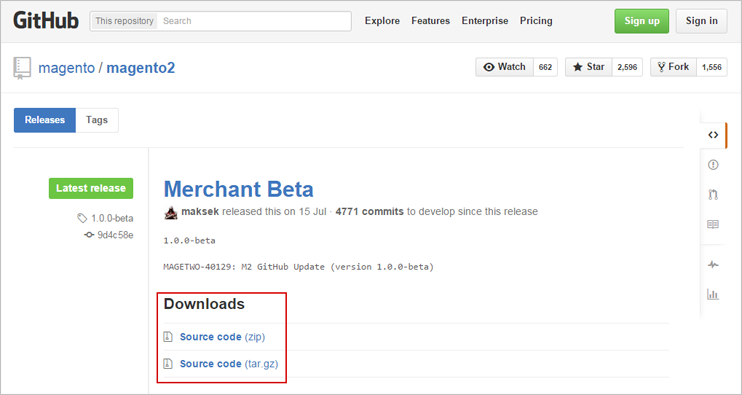 Download Magento 2 installation distributive from Github