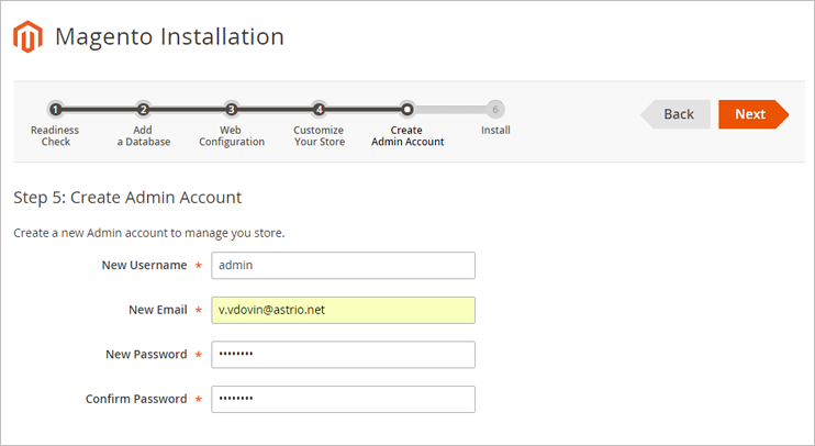 Magento 2 administrator account data configuration
