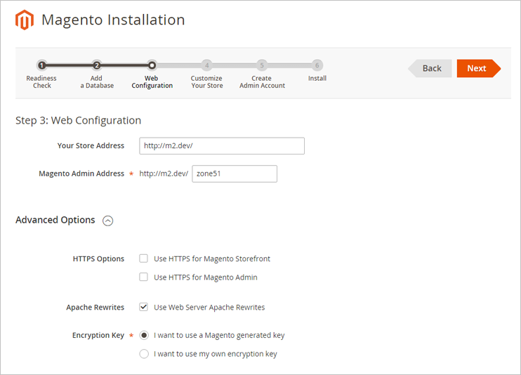Magento 2: configure web settings: enter administration zone address, configure HTTPS connection